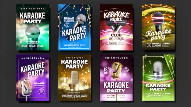 Ensemble d'affiche karaoké Vecteur Premium