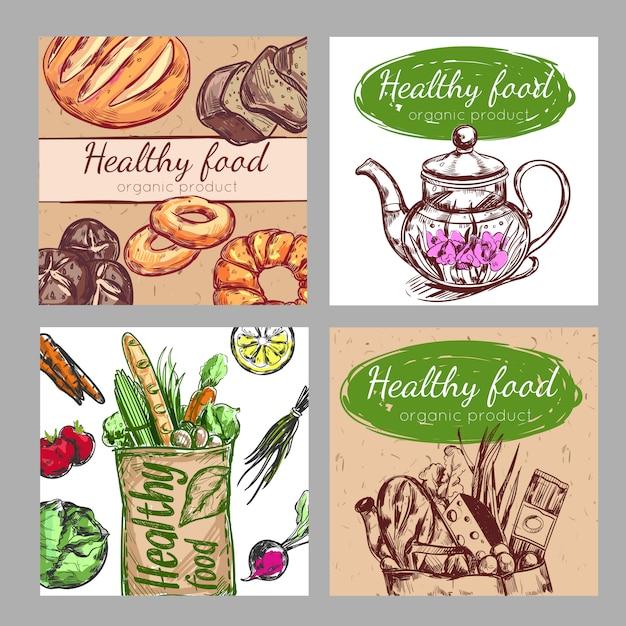 Ensemble D'affiche Pour Une Alimentation Saine Vecteur gratuit