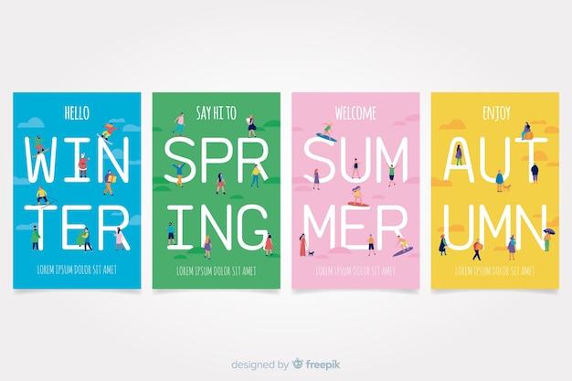 Ensemble d'affiche saisonnière dessiné main coloré Vecteur gratuit