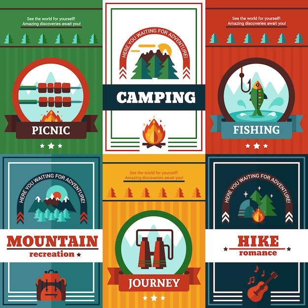 Ensemble d'affiches de camping Vecteur gratuit