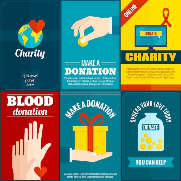Ensemble d'affiches de charité Vecteur gratuit