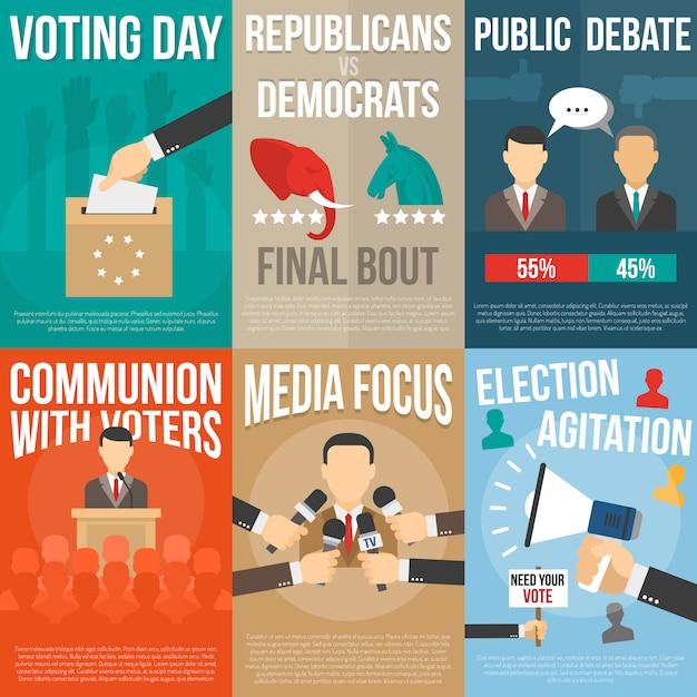 Ensemble D'affiches D'élection Vecteur gratuit