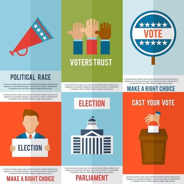 Ensemble d'affiches d'élection Vecteur Premium