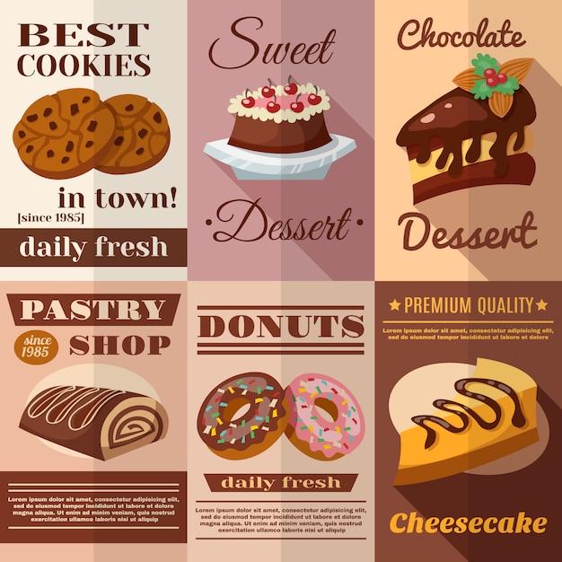 Ensemble d'affiches de pâtisserie Vecteur gratuit