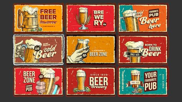 Ensemble d'affiches publicitaires pour la collection de bière Vecteur Premium