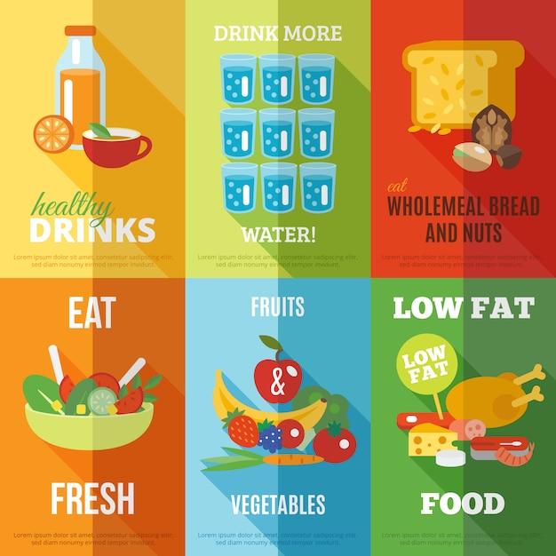Ensemble d'affiches de saine alimentation Vecteur gratuit