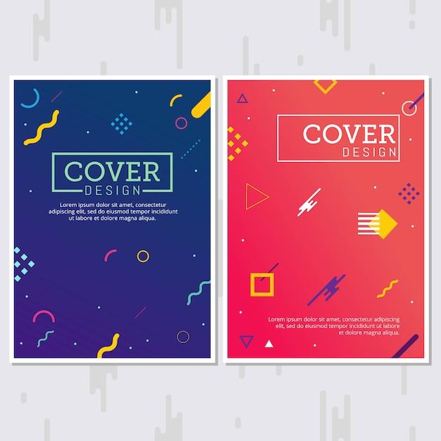Ensemble d'affiches de style memphis. arrière-plans de couleur fluide Vecteur Premium