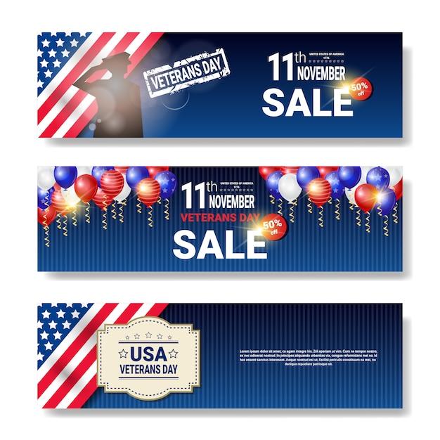Ensemble d'affiches de vente avec message de remise pour ancien combattant sur fond blanc Vecteur Premium