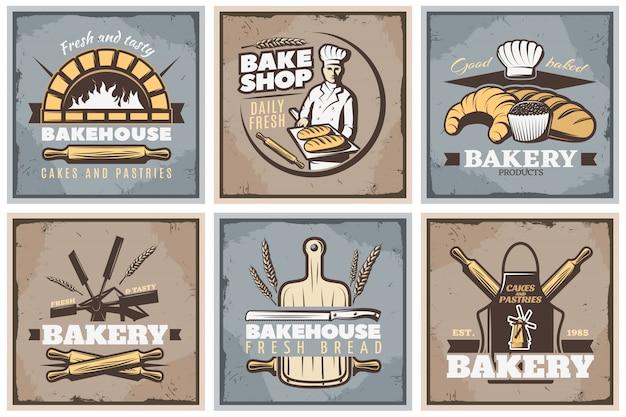 Ensemble D'affiches Vintage De Boulangerie Vecteur gratuit