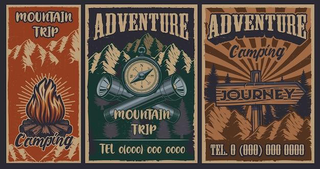 Ensemble D'affiches Vintage Couleur Sur Le Thème Du Camping. Vecteur Vecteur Premium