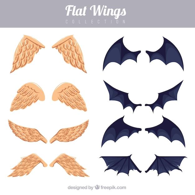 Ensemble d'ailes d'ange et de baton Vecteur gratuit