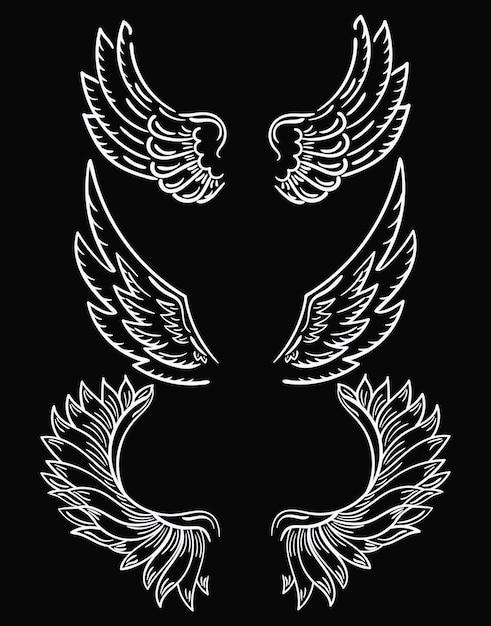 Ensemble D'ailes. Collection D'ailes En Noir Et Blanc Pour Clipart. Ailes D'ange Abstraites. Vecteur Premium