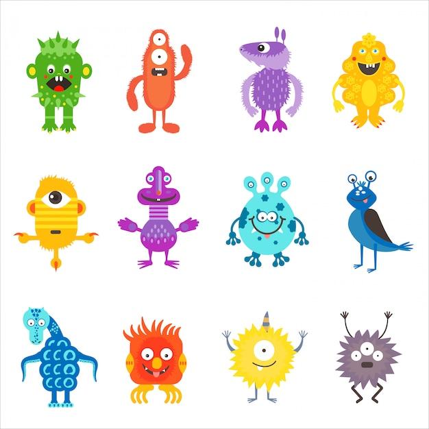 Ensemble d'aliens monstres de couleur mignons de dessin animé Vecteur Premium