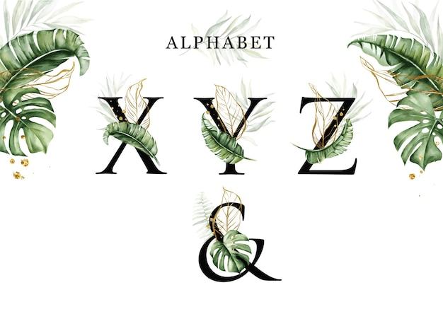 Ensemble D'alphabet Aquarelle Feuilles Tropicales De Xyz Avec Des Feuilles Dorées Vecteur Premium