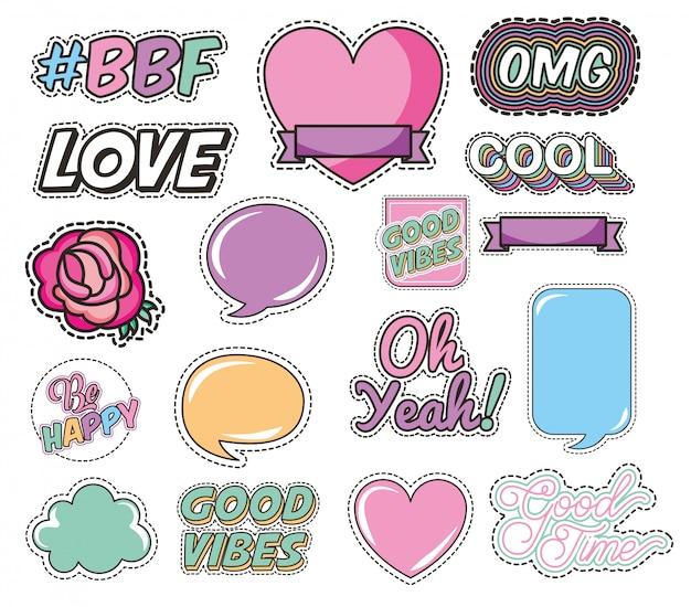 Ensemble d'amour et de messages style pop art Vecteur gratuit