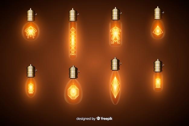 Ensemble d'ampoules réalistes Vecteur gratuit