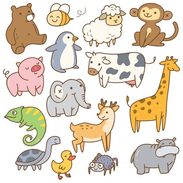 Ensemble d'animal de dessin animé Vecteur Premium