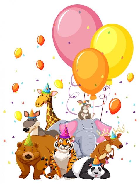 Ensemble d'animaux d'anniversaire Vecteur gratuit