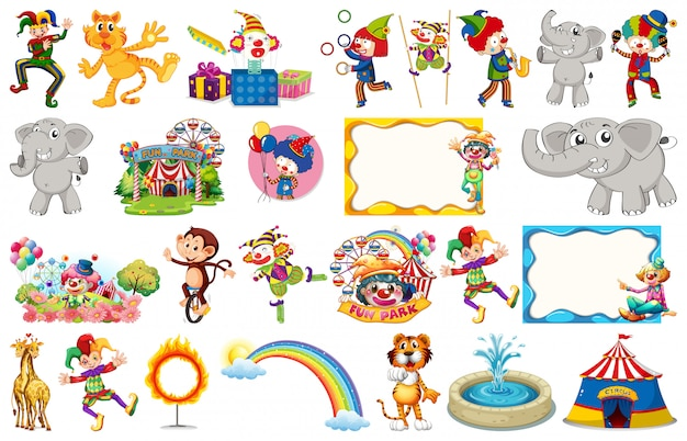Ensemble d'animaux de cirque, personnages, objets et cadres Vecteur Premium