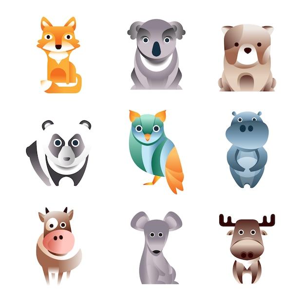Ensemble D'animaux Colorés Différents, Style Géométrique Illustrations Vecteur Premium