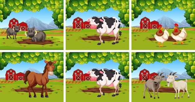 Ensemble d'animaux dans les fermes Vecteur gratuit