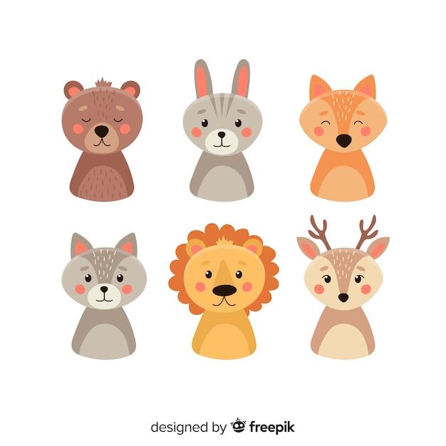 Ensemble d'animaux dans le style des enfants Vecteur gratuit