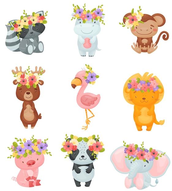 Ensemble D'animaux De Dessin Animé Avec Des Couronnes De Fleurs Sur La Tête Vecteur Premium