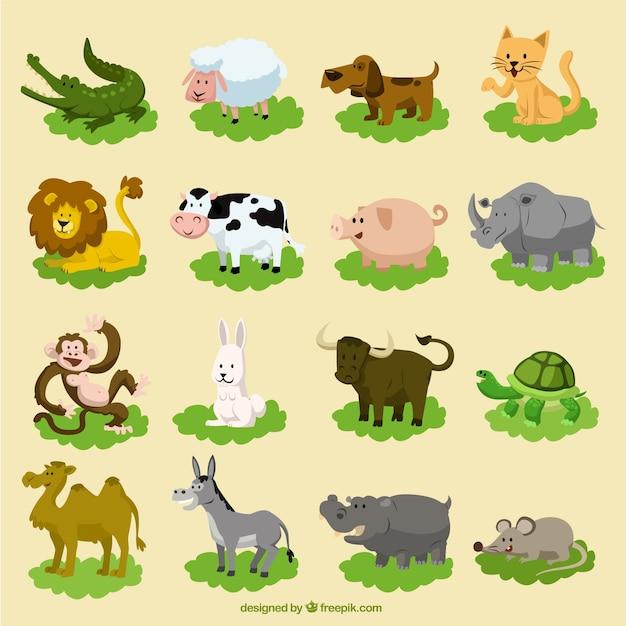 Ensemble des animaux de dessin animé drôles Vecteur gratuit