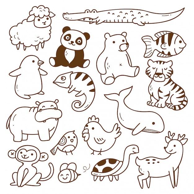 Ensemble d'animaux doodle isolé Vecteur Premium