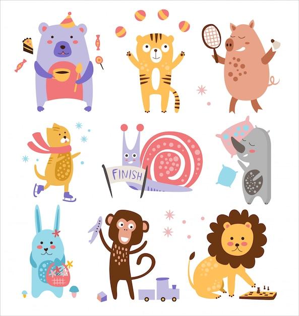 Ensemble D'animaux Enfantins Colorés Vecteur Premium