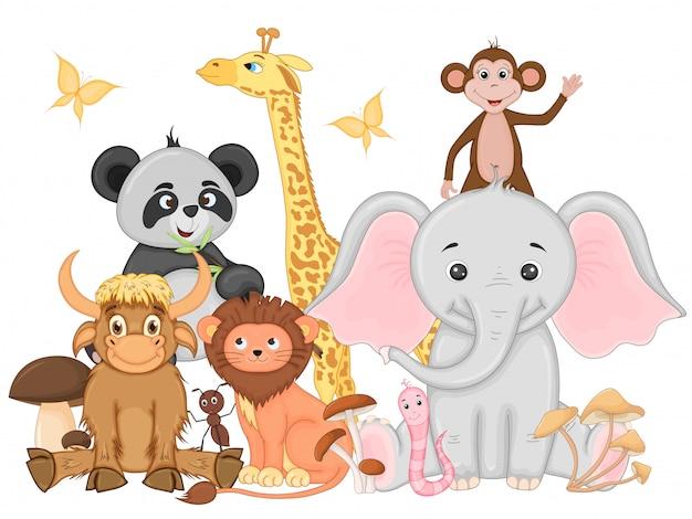 Ensemble D'animaux Exotiques Amusants Vecteur Premium