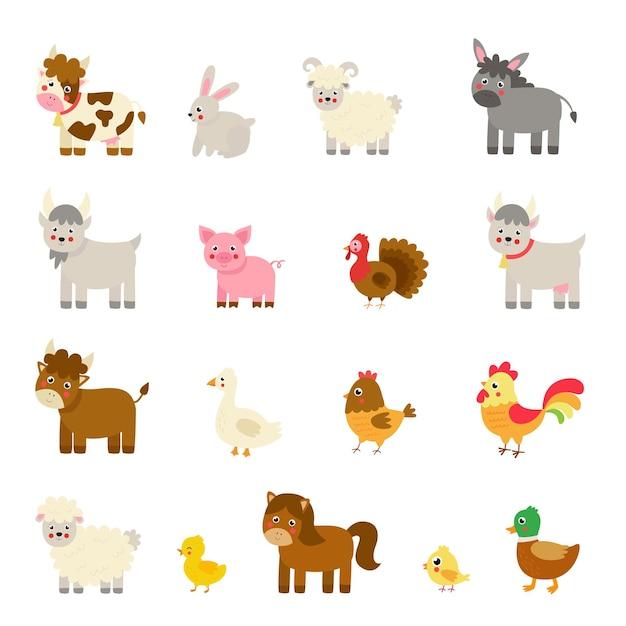 Ensemble D'animaux De Ferme De Vecteur En Style Cartoon. Collection D'illustrations Enfantines. Vecteur Premium
