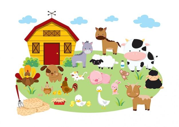 Ensemble D'animaux De Ferme Vecteur Premium