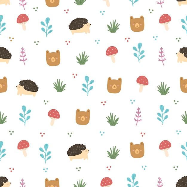 Ensemble D'animaux Et De Feuilles De Forêt Modèle Sans Couture Vecteur Premium