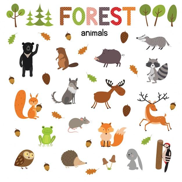Ensemble d'animaux de la forêt faite en vecteur de style plat. collection de bandes dessinées zoo pour enfants Vecteur Premium