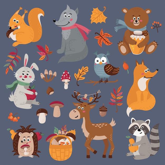 Ensemble d'animaux de la forêt mignons Vecteur Premium