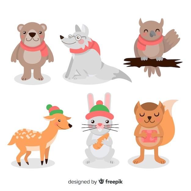 Ensemble d'animaux d'hiver Vecteur gratuit