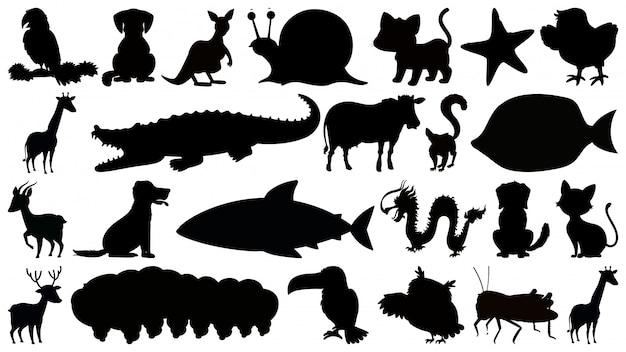 Ensemble D'animaux Isolés B & W Sihouette Vecteur Premium