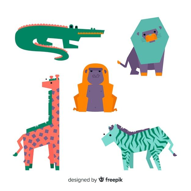Ensemble d'animaux de la jungle: crocodile, alligator, lion, girafe, zèbre Vecteur gratuit