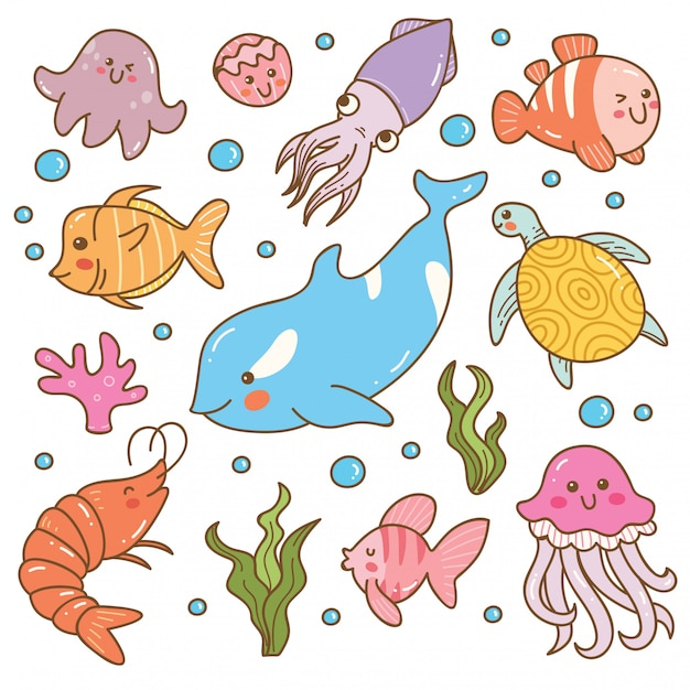 Ensemble d'animaux marins kawaii Vecteur Premium