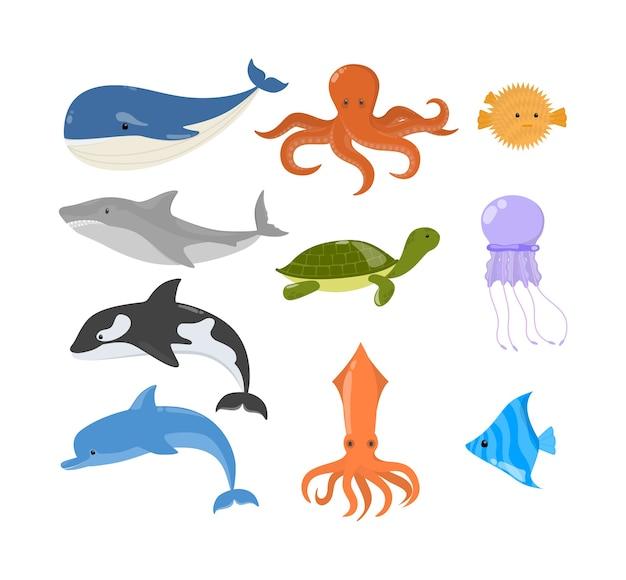 Ensemble D'animaux Marins Et Océaniques. Collection De Créature Aquatique. Poulpe Et Requin. Tortue Marine. Illustration Vecteur Premium