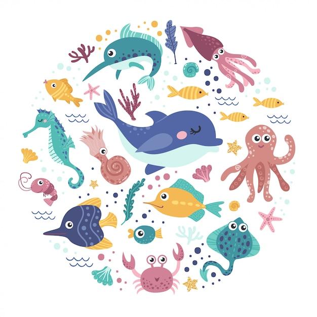 Ensemble d'animaux marins Vecteur Premium