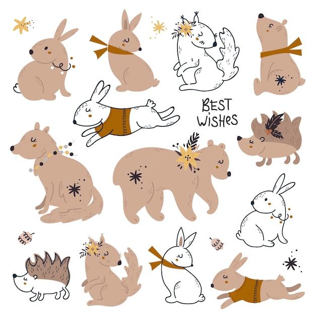 Ensemble D'animaux Mignons Des Bois Avec Des Décorations De Noël. Vecteur Premium