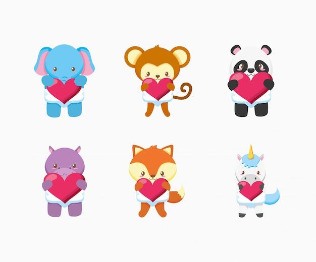 Ensemble D'animaux Mignons Et Conception D'illustration De Jouets Bébé Vecteur Premium