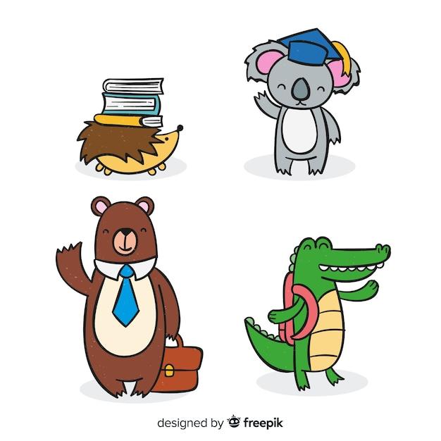 Ensemble d'animaux mignons dessinés à la main Vecteur gratuit