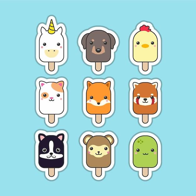 Ensemble D'animaux Mignons Popsicle Vecteur Premium
