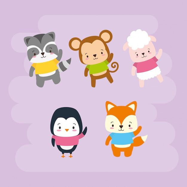 Ensemble d'animaux mignons, style cartoon et plat, illustration Vecteur gratuit