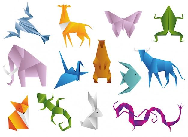 Ensemble d'animaux d'origami Vecteur Premium