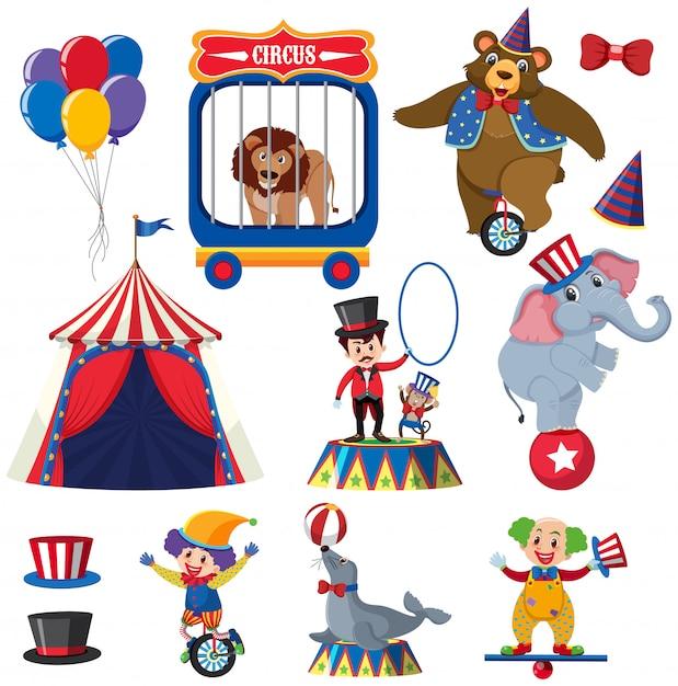 Ensemble d'animaux et de personnes du cirque Vecteur Premium