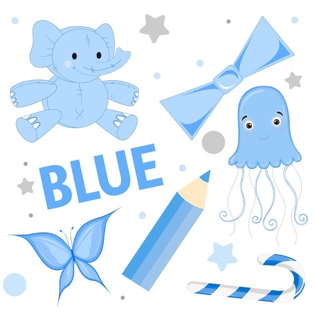 Ensemble d'animaux sauvages et d'insectes pour enfants bleu Vecteur Premium